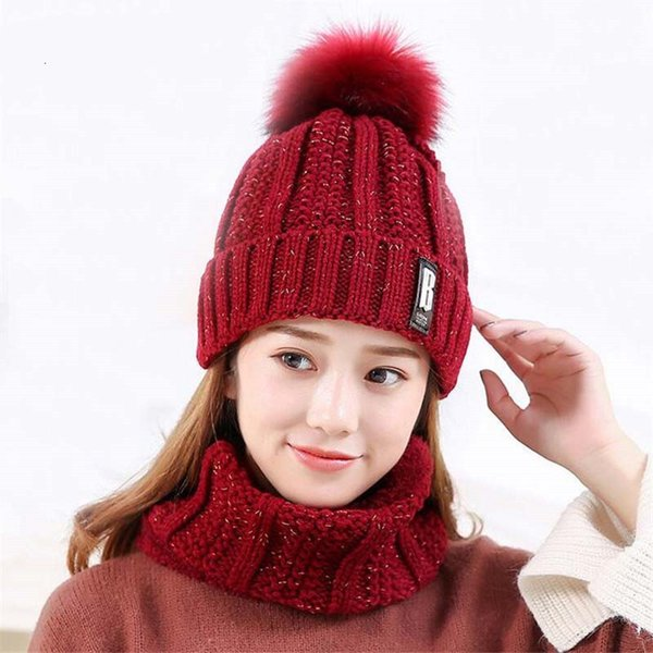 2018 Hot B letters knitted Hat Women Brand High Quality Winter Women Ball Ski Rabbit Fur Hat PomPoms Hats knitted scarf