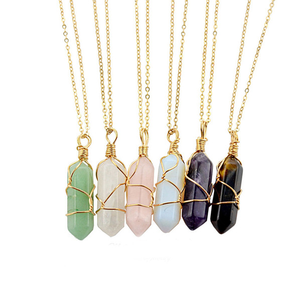 Hexagon Shape Chakra Natural Stone Healing Point Pendants Necklaces with Gold Chain for Women Jewelry
