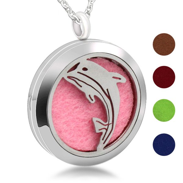 316L Stainless Steel Magnetism Aromatherapy Essential Oil Diffuser Perfume Locket Pendant Necklace Dolphin Design Perfume Locket Pendant Jew