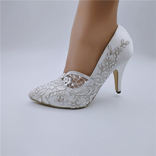 Handcrafted Ribbon Lace satin Flower Bridal Shoes Wedding Party Dancing Shoes Beautiful Bridesmaid Shoes Women high heel size EU35-41