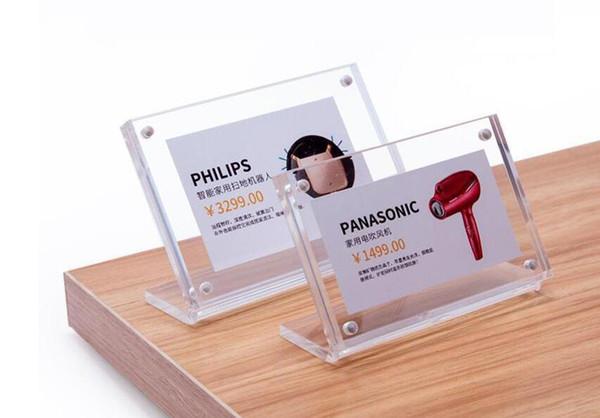 15 * 10 cm acrilico trasversale porta etichetta stand poster foto cornice magnetica menu stand pubblicità segno scrivania titolare display cartellino del prezzo