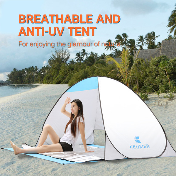 KEUMER Outdoor Camping Tent Anti UV Beach Tent Instant Pop Up Open Automatic Sun Shelter for Summer Fishing Picnic Hiking