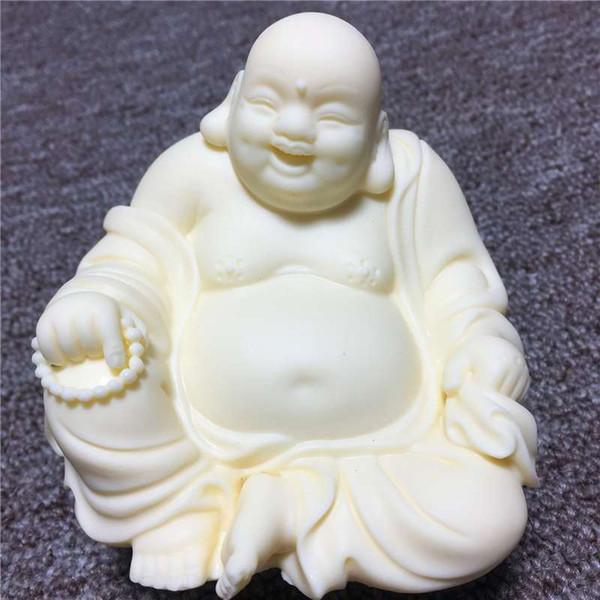 Ivory carving Maitreya Buddha 9*9*7.5cm Lucky Nafu Car desktop crafts fashion ornaments