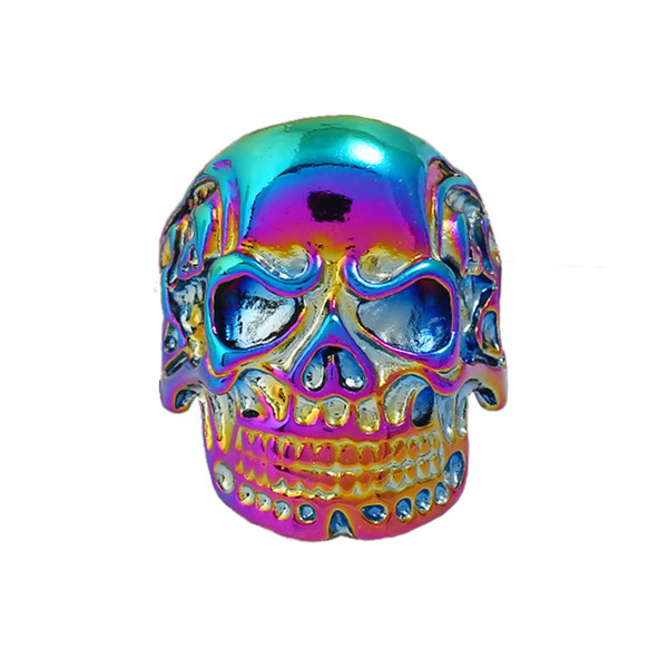 Personality Zinc Jewelry Ghost Rings Colorful Protection Carving Skull Punk Retro Ring Trendy Accessory Golden/Silver JY2738