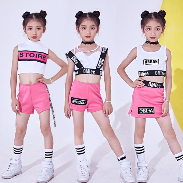 Moda Jazz Traje de Dança Para Crianças Tops Shorts Hip Hop Palco Desgaste Dança Desempenho Crianças Jazz Trajes Para As Meninas DL2458