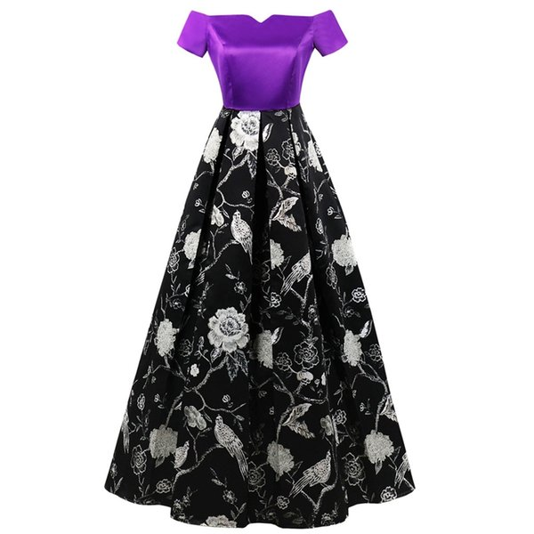 Fashion Women's Floral Printed Host Wedding Party Formal Long Dress Ladies Elegant Purple Slash Neck Vintage Retro Dresses New