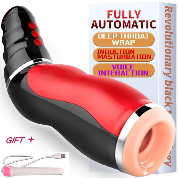 Оральный секс рот всасывания автоматический мужской мастурбатор для человека силиконовые влагалище реальная киска стон вибратор секс для мужчин секс эротические игрушки Y18100903