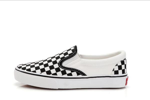 En çok satan yeni tuval rahat ayakkabılar Düşük topuklu düz beyaz kare ekose tenis ayakkabıları Genç erkekler ve kadınlar moda yürüyüş ayakkabı size35-44