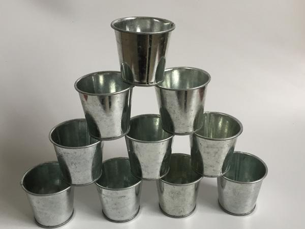 Flower & Planters 20Pcs/lot D6.5*H6CM Mini Nursery Pots flower Tin Succulent Planter Mini Galvanized Buckets for small plant SF-036-1