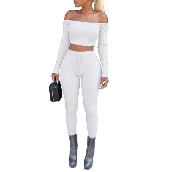 Conjunto de dos piezas de mujer Conjunto de pantalones elásticos de alta costura con costuras recortadas Establece trajes de estiramiento de Fitness para mujeres Conjuntos de ropa de noche del club de mujeres