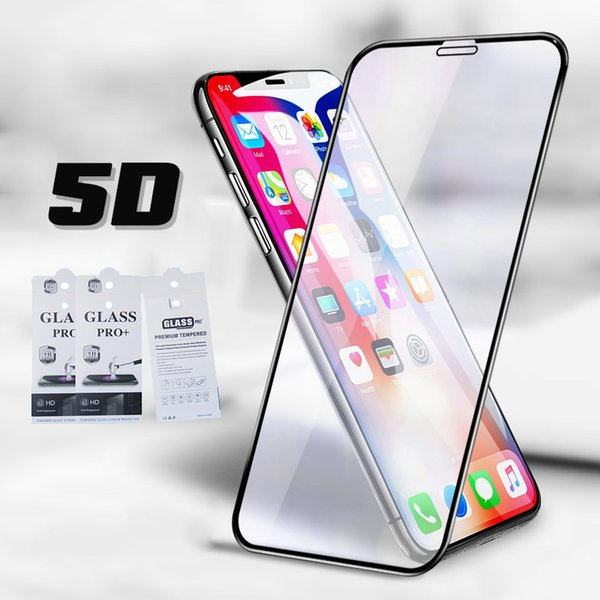 5D Curved Tempered Glass Screen Protector For iPhone XS Max Xr X 8 7 Plus Camber Curved Full Cover Protector Film With Retail Package 100pcs
