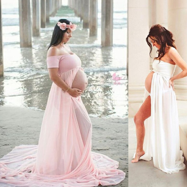 Chiffon Maxi Umstandskleid für Fotoshooting Mutterschaft Fotografie Requisiten Schwangerschaft Kleidung für schwangere Frauen Long Casual Dress