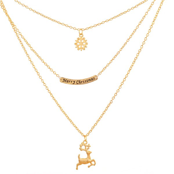 Multi-layer Gold Chain Necklace Gold Plated Alloy Merry Christmas Gifts Snowflake Pendant Necklace Deer Necklace