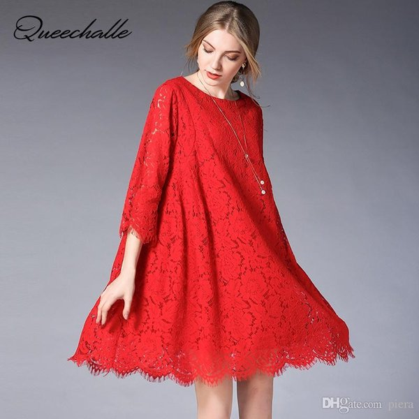 Red Black Sweet Party Dress for Women Hollow Out Lace Three Quarter Sleeve A-line Dress XL XXL XXXL 4XL Plus Size Women