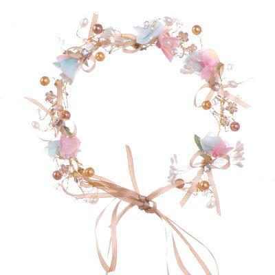 New Handmade Flower Hair Accessories Pearls Hair Glands Bridal Wreath Bridesmaid Wedding Crystal Tiaras Hair wedding Headpieces
