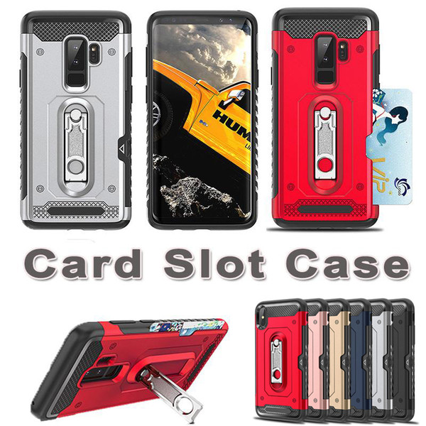 Defender Credit Slide Card Holder Case for iPhoneX Samsung Galaxy S9 S9 plus 2 in 1 Wallet Anti-knock Hybrid Brushed Metal Armor Cover
