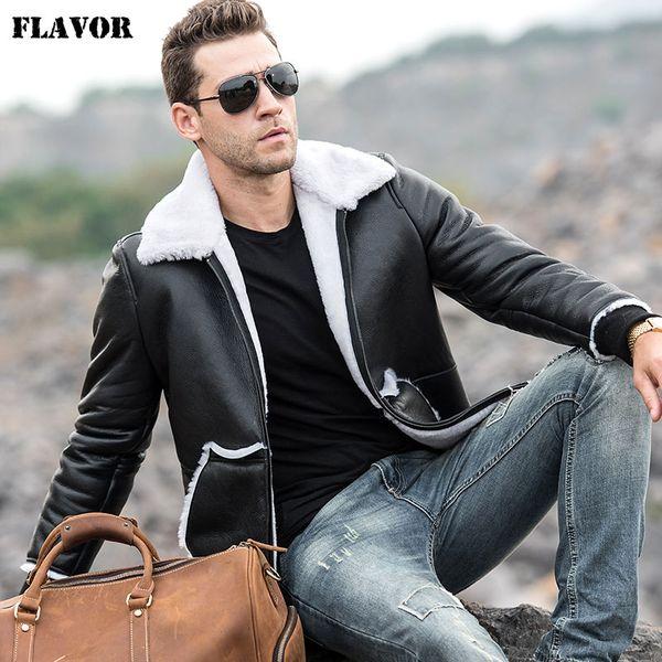 SABOR chaqueta de cuero real de los hombres de los hombres de la motocicleta genuina chaqueta de piel de oveja con costilla Cuff Winter Warm Coat
