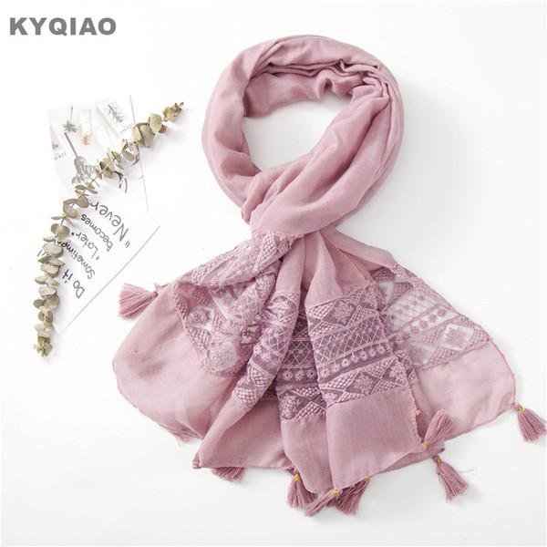 KYQIAO PEMBE dantel eşarp kadınlar için tasarımcı kafa eşarp kadın sonbahar bahar Güney Kore moda tatlı uzun pembe hollow