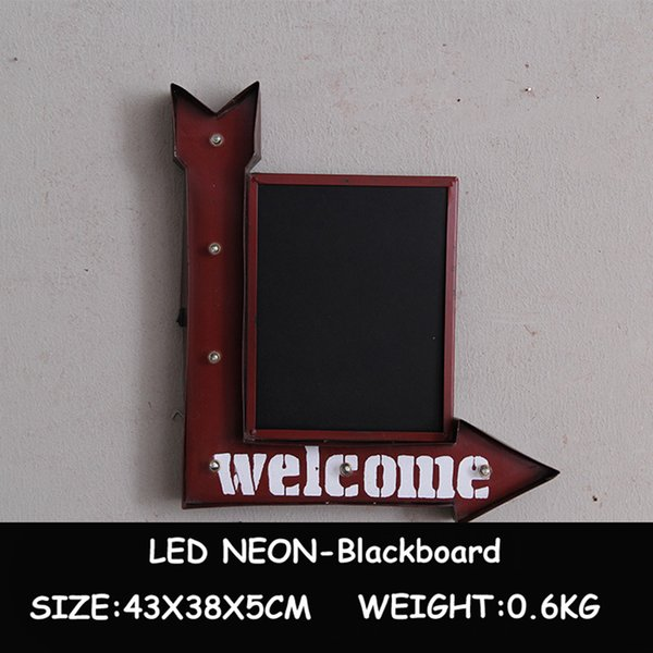 LED Neon Light Blackboard Vintage Metal Plates Wall Hanging Decorative Advertising Signboard for Restaurant Pub Bar Cafe Shop