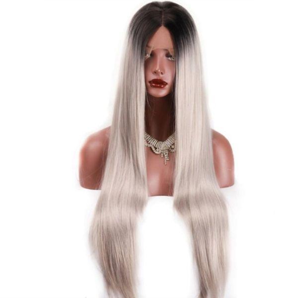 Partie centrale Silky Straight Black Racine à Gris Ombre Synthétique Perruque Avant de Lacet Résistant À La Chaleur Longue Ombre Fibre Cheveux Cosplay Perruque Pour Les Femmes