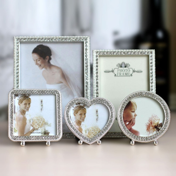 """3"""" 7"""" 6 Inch Wedding Photo Frame Shiny Silver Metal Picture Framework Mirror love Heart shape circle square rectangle"""