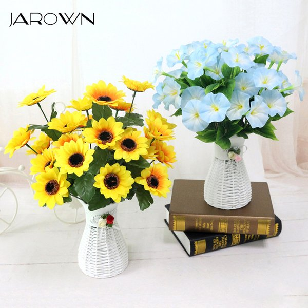 quality plastic vase + silk flowers artificial flower set home flowers decoration artificial wedding decor Free Shipping