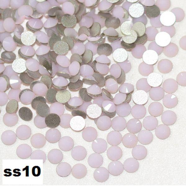wholesale 1440pcs/pack ss10(2.7-2.9mm) Pink Opal Flat Back bead 3d Nail Art crystal Glue On Non Hotfix Rhinestones glass