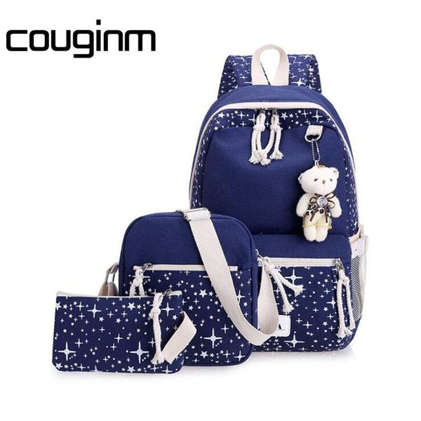 33a55b017847 Fashion Women Canvas Backpack School Bags Set For Girl Teenagers Casual  Student Travel Rucksack Cute Stars