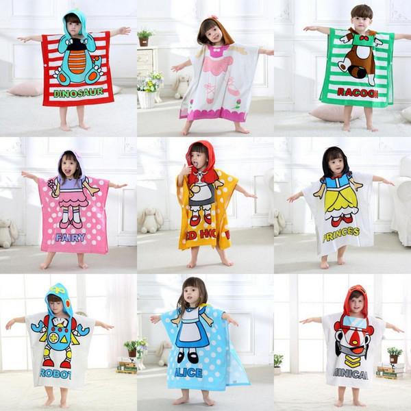 Korean Style Children Cotton Cartoon Bathrobe Baby Boys Girls Cape Cloak Hooded Towel Bath Towel Beach Towel Sleepwear Night Robe 9 Styles