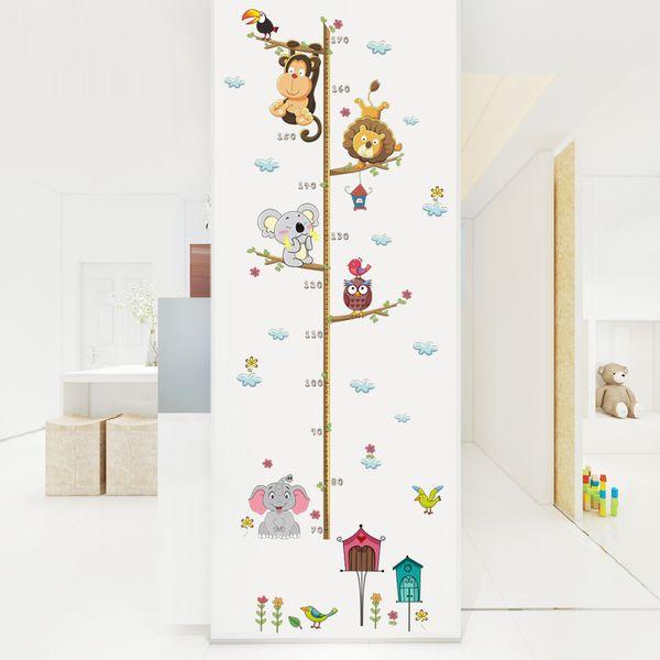 Foresta Animali Leone Scimmia Gufo Albero di Casa Albero Altezza Misura Wall Sticker Per Bambini Camere Poster Crescita Grafico Home Decor Decal