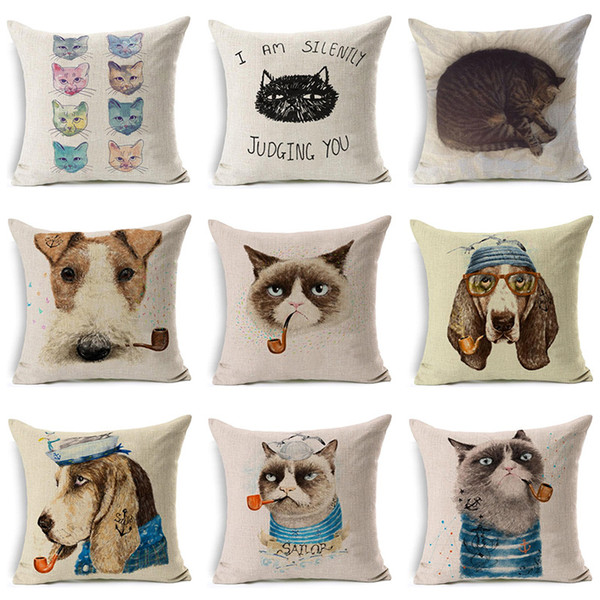 Lovely Cat Printed Pillow Case Cotton Linen Decorative Pillow Use For Home Bedroom Office Almofada Cojines Coussin Dakimakura