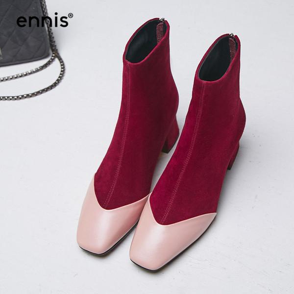 Compre Venta Al Por Mayor 2018 Señoras Botines Botas De Cuero Genuino De Las Mujeres Botas De Tacón Grueso Otoño Gamuza Invierno Negro Rojo Púrpura