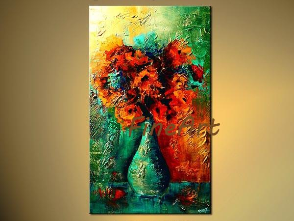 hand-painted palette knife textured oil painting modern flower oil wall modern office wall décor unique gifts Kungfu Art