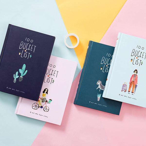 2018 Korean 100 Eimer Aufgabenliste Wunschliste Kawaii süße Blume Bunte Boxed Tagesplaner Schule Bürobedarf Stationäre A5