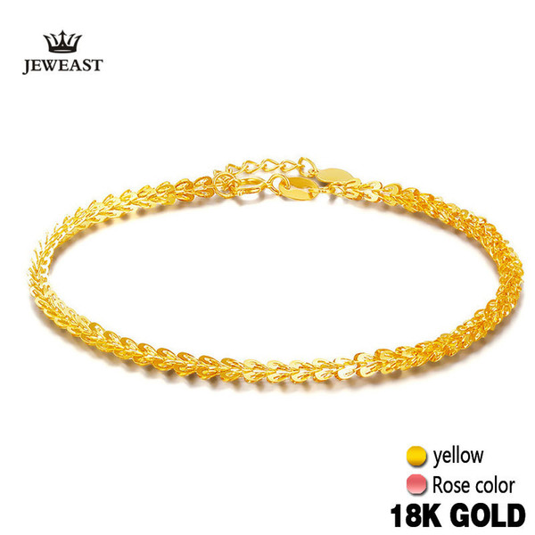 18k Pure Gold Women Bracelet Yellow Rose Girl Genuine Real Solid 750 Gift Female Bangle Upscale Hot Sale 2017 New Party Trendy S18101308