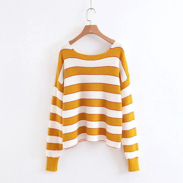 Compre Deturbg Mujeres Vintage Suéter Suelto A Rayas Femenina ...