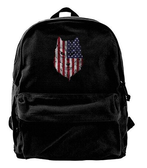 Patriotic American Flag Wolf1 Canvas Backpack Travel Rucksack Backpack Daypack Knapsack Laptop Shoulder Bag
