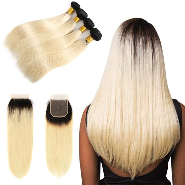 Ombre Human Hair Weave Bundles with Closure Two Tone Honey Blonde 1B/613# Brazilian Straight Remy Hair Extensions with 4x4 Lace Closure