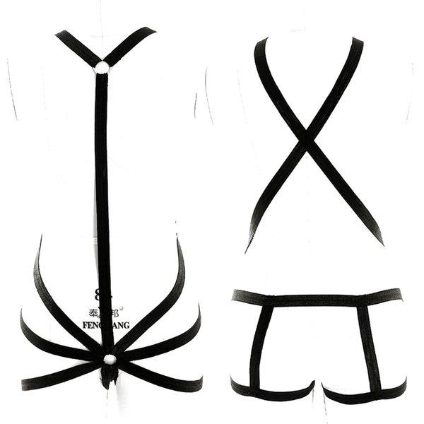 Schwarzer Ganzkörper Harness BDSM Bondage Set Sexy Elastic Plus Size Dessous Käfig Bra Gothic Dance Halloween Rave Wear für Frauen