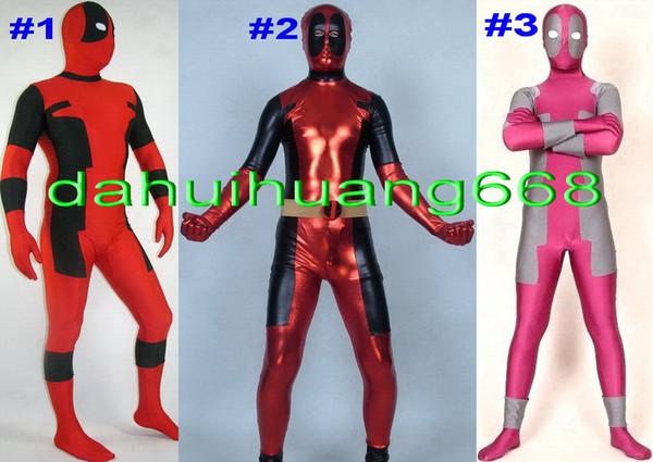 Novo 3 Estilo Spandex Lycra Deadpool Catsuit Trajes Unisex Fantasia Deadpool Deadpool Corpo Terno Trajes do Partido Fancy Dress Trajes DH256
