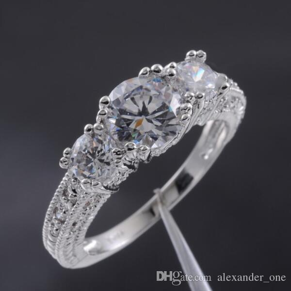 Size 6,7,8 ,9 wholesale Fashion Lady's White Sapphire 10KT white gold filled Wedding Gem Crystal Stone Ring Jewelry for Women