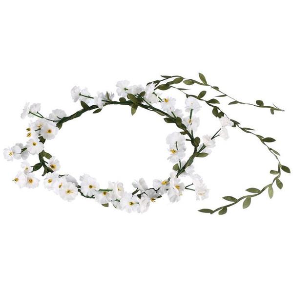 2018 Nouveau Babysbreath Bandeau Accessoires De Cheveux De Mariage Blanc Floral Tête De Guirlande Bohème Plage Tête Band Boho Fille Floral Couronne