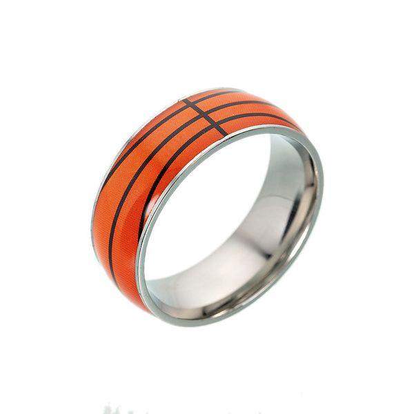 Men's 8mm Domed Titanium steel Ring with Hammered Basketball Pattern Baseball ring American football Soccer ring for men women sport fans