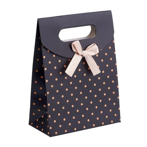 6 pcs 16.5x12.5x5.6 cm Polka Dot Preto Vermelho Bolsa de Papel Presente Sacos De Papelão Malotes Por Atacado Preço de Desconto QUENTE