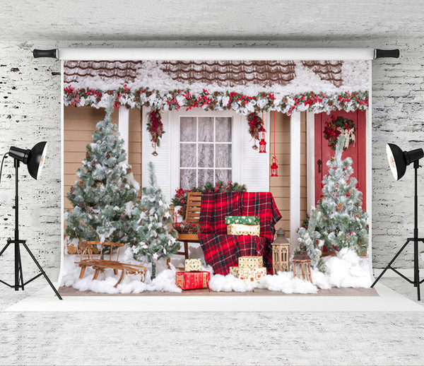 Dream 7x5ft Christmas Backdrop for Photography Outdoor House Backdrop Prop Children Shoot Backgrounds for Family Christmas Photo Studio