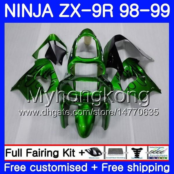 Gehäuse für KAWASAKI NINJA ZX 9 R ZX900 ZX9 R ZX9R 98 99 00 220HM.43 ZX 900 900CC ZX 9R 98 99 ZX-9R 1998 1999 2000 Grün Schwarz Verkleidung