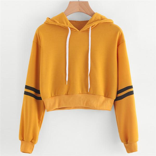 Women Long Sleeve Casual Cropped Hoodie Pullover Sweat Women Spring Fall Harajuku Striped Yellow Sweatshirts Crop Top S-XL