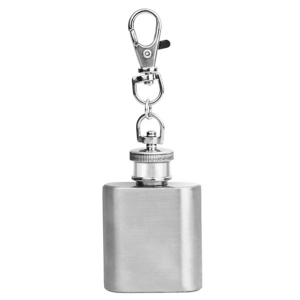 OTOKY 2018 Hot Sale 1PC Silver 1oz Mini Stainless Steel Hip Flask Alcohol Flagon with Keychain For Gift Dropshipping Apr9