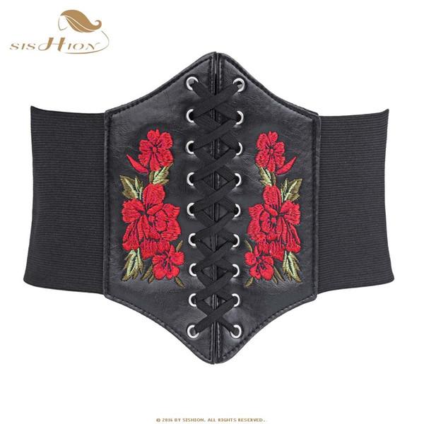 Sishion Korseler Ve Bustiers Gotik Nakış Çiçek Çiçek Lace Up Underbust Korse Elastik Cinch Bel Kemeri Seksi Siyah Vb0009