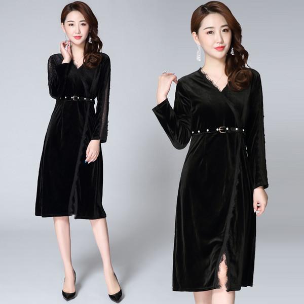 2018 Herbst Mode Frauen langes Kleid hohe Qualität schwarz samt Kleid Büro Damen Abendkleider Mididress mit Gürtel
